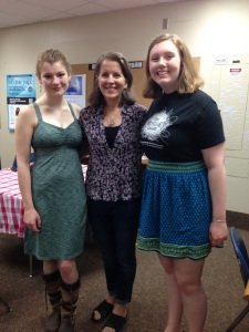 (left to right) Charlotte, Ms. Shea, and Brynne at the Writing Center's Year-End Breakfast
